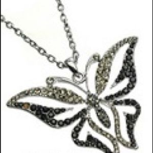 Rhinestone Butterfly Fashion Necklace
